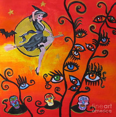 Witching And Watching Art Print by Diana Riukas