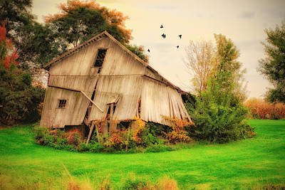Falling Down Digital Art - Withered Barn by Mary Timman