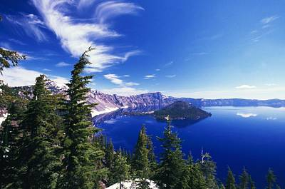 Crater Lake View Photograph - Wizard Island At Crater Lake National by Natural Selection Craig Tuttle