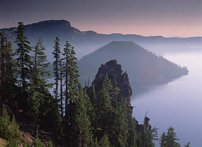 Mount Mazama Photograph - Wizard Island In The Center Of Crater by Tim Fitzharris