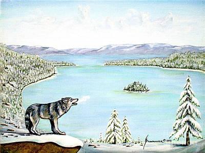 Wolf At Lake Tahoe Print by Jerome Stumphauzer
