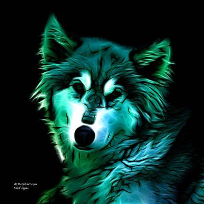 Wolf - Cyan Art Print