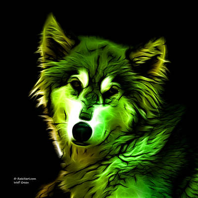 Digital Art - Wolf - Green by James Ahn