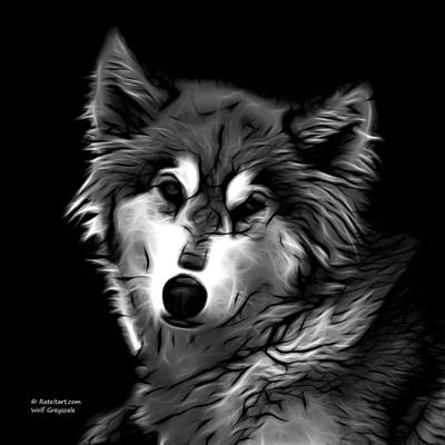Digital Art - Wolf - Greyscale by James Ahn