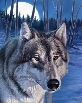 Wolf In Moonlight Art Print