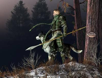 Digital Art - Wolf Knight by Daniel Eskridge