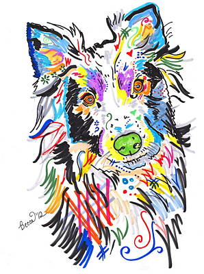 Peter Max Drawing - Wolfie by Rebecca Fischer