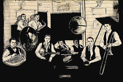 Trombone Drawing - Wolverines Recording Session by Mel Thompson