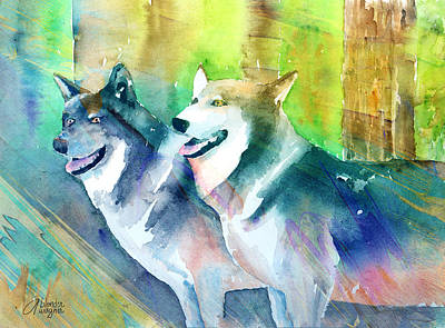 Wolf Mixed Media - Wolves by Arline Wagner