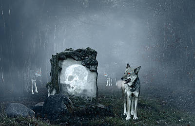 Eerie Digital Art - Wolves Guarding An Old Grave by Jaroslaw Grudzinski