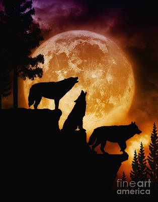 Wolves Digital Art - Wolves Peak by Julie Fain