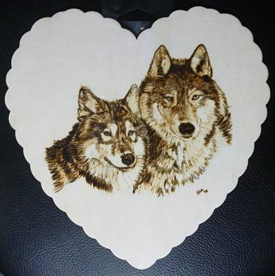 Pigatopia Pyrography - Wolves Pyrographic Wood Burn Heart Original 7.5 X 7.5 Inch by Shannon Ivins