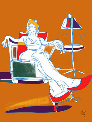 Woman And Lamp Art Print by Russell Pierce