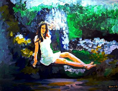 Acrylic Painting - Woman And Nature Perfect by Rom Galicia