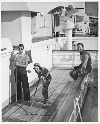 Woman And Two Men On Cruiser Deck, (b&w), Elevated View Art Print by George Marks