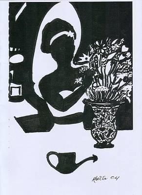 Woman Arranging Flowers 1 Art Print by Rhetta Hughes
