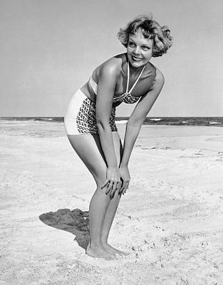 Woman At Beach Posing Art Print by George Marks