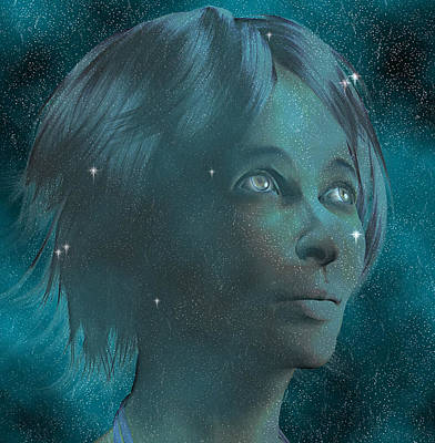 Woman Daydreaming Digital Art - Woman by Carol and Mike Werner