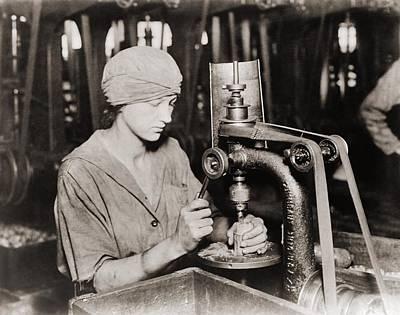 Woman Countersinking A Detonator Tube Art Print by Everett