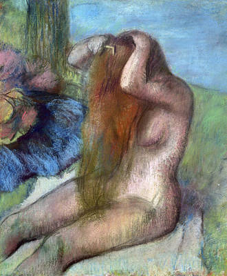 The Baths Photograph - Woman Doing Her Hair by Edgar Degas