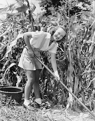 Woman Hoeing In Field Of Corn Art Print by George Marks