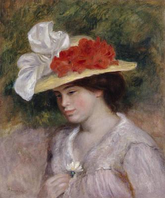 Woman In A Flowered Hat Art Print by Pierre Auguste Renoir