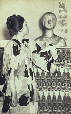 Platinum Photograph - Woman In A Kimono Standing Looking by Everett