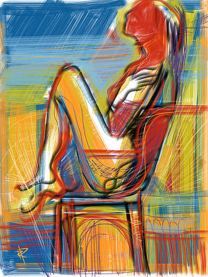 Seaside Mixed Media - Woman In Chair by Russell Pierce
