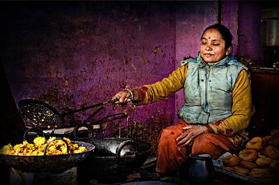 Woman In Colorful Dress Cooking In Streeet Shop In Kathmandu Nep Original