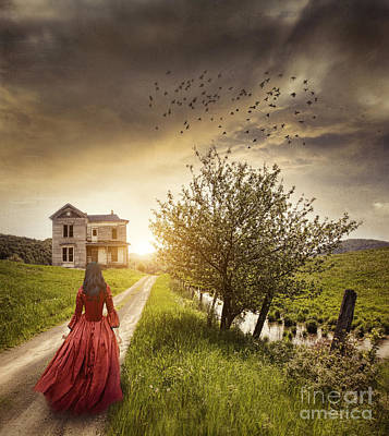 Photograph - Woman In Long Red Dress Walks On A Country Road  by Sandra Cunningham