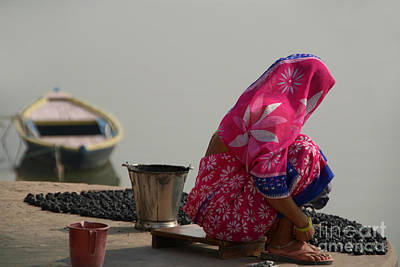 Cremation Ghat Photograph - Woman In Pink Sari By Ganges by Serena Bowles