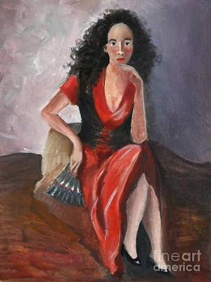 Painting - Woman In Red - Inspired By Pino by Kostas Koutsoukanidis