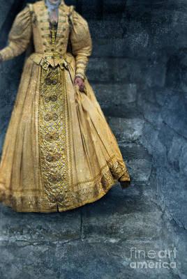 Woman In Renaissance Clothing On Stone Staircase Art Print by Jill Battaglia