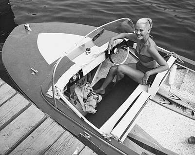 Woman In Speed Boat Art Print by George Marks