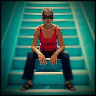 Female Wall Art - Photograph - Woman In Stairs by Isabel Poulin