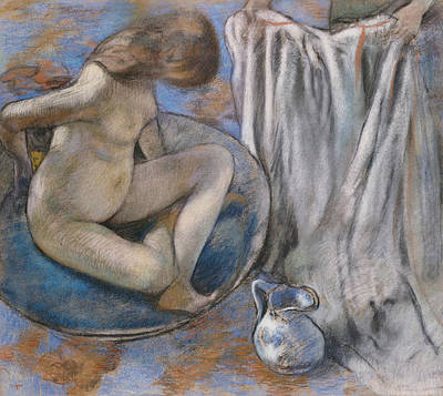 Nudes Pastel - Woman In The Tub by Edgar Degas