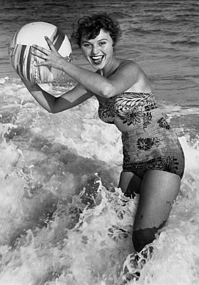 Woman In Water W/beachball Art Print by George Marks