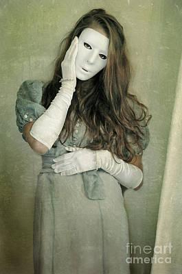 Woman In White Mask Wearing 1930s Dress Art Print by Jill Battaglia