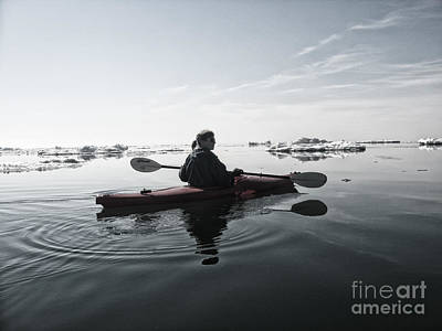 Kayak Photograph - Woman Kayaking Among Ice Formations by Christopher Purcell