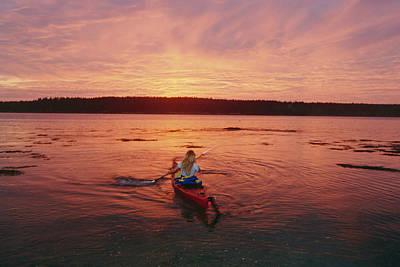Woman Kayaking At Dusk, Penobscot Bay Art Print by Skip Brown