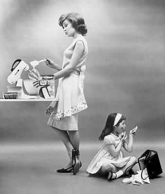 Woman Making Cake, Girl Plays Art Print
