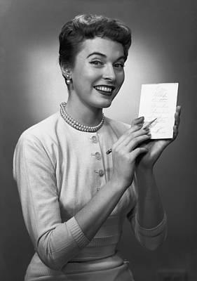 Woman Note Pad Posing In Studio, (b&w), Portrait Art Print by George Marks