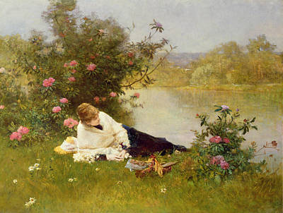 Reflecting Water Painting - Woman On A River Bank by Ferdinand Heilbuth
