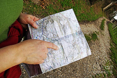 Woman On Country Road Pointing Map Art Print