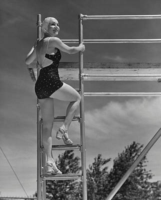 Woman On Diving Board Art Print by George Marks