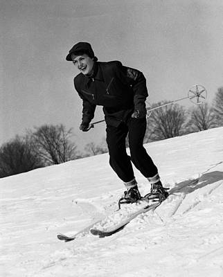 Woman On Ski Slopes Art Print by George Marks