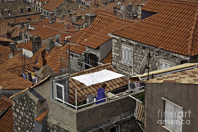 Red Roof Photograph - Woman On The Terrace In Dubrovnik by Madeline Ellis