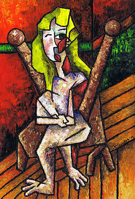 Woman On Wooden Chair Art Print