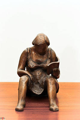 Sculpture - Woman Reading A Book Bronze Sculpture Dress Legs Hands Pages Hair Shoulders by Rachel Hershkovitz