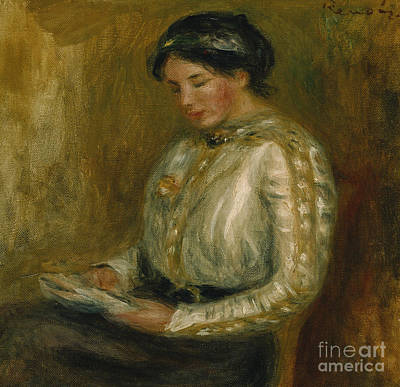 Old Lady Painting - Woman Reading  by Pierre Auguste Renoir